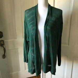 Sparrow Anthropologie Green Open Knit Cardigan